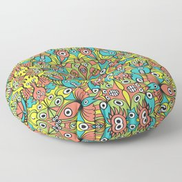 Odd funny creatures multiplying in a symmetrical pattern design Floor Pillow