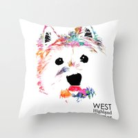 westie Throw Pillows featuring Max the Westie by free in the lines