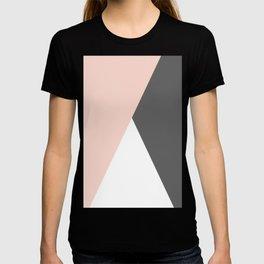 Elegant blush pink & grey geometric triangles T-shirt