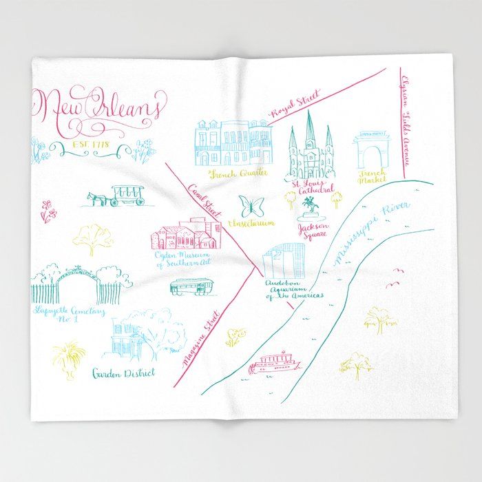 New Orleans, Louisiana Illustrated Calligraphy Map Throw Blanket by on