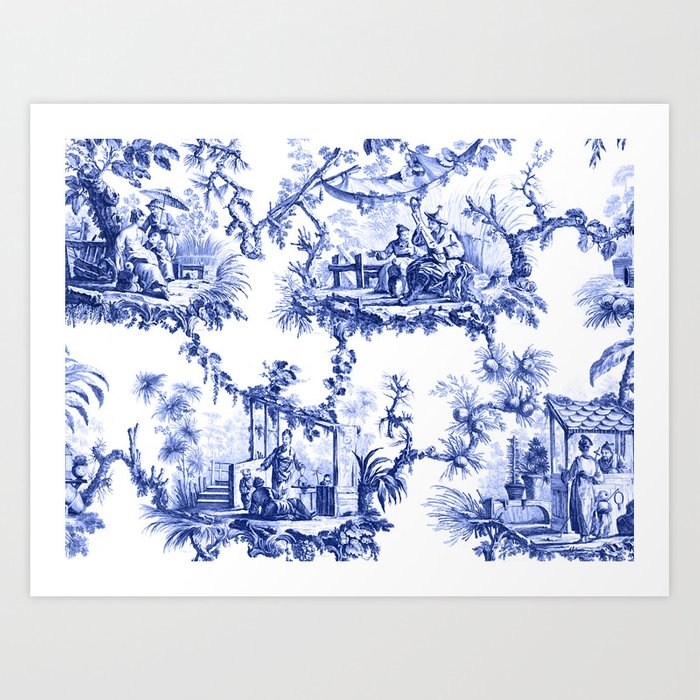 Blue Chinoiserie Toile Kunstdrucke