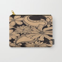 Black Floral Carry-All Pouch