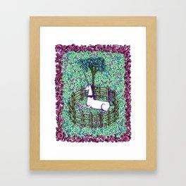 Medieval Unicorn Garden Framed Art Print