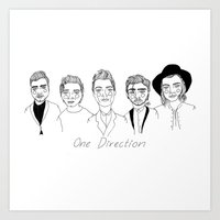 one direction Art Prints featuring One Direction by ☿ cactei ☿