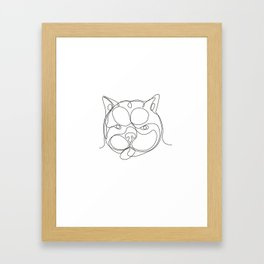 French Bulldog Head Continuous Line Framed Art Print
