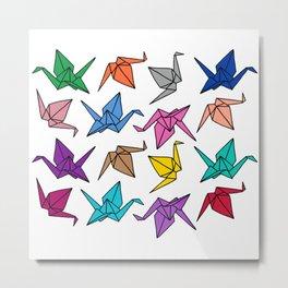 Origami Cranes Colorful Palette Metal Print