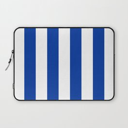 Dark Princess Blue and White Wide Vertical Cabana Tent Stripe Laptop Sleeve