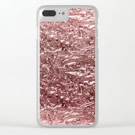 Rose Gold Pink Liquid Metallic Chrome Metal Clear iPhone Case