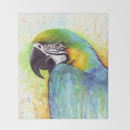 Macaw Bird Parrot Colorful Tropical Animal Throw Blanket