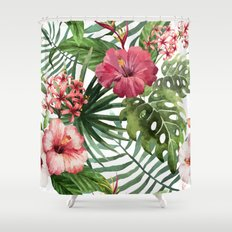 Tropical Floral Pattern 02 Shower Curtain