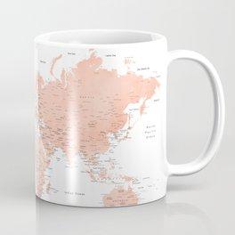 "Rose gold world map with cities, ""Hadi"" Coffee Mug"
