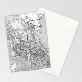 Vintage Mexico Railroad Map (1881) BW Stationery Cards