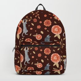 Flowers and climbing cats Backpack
