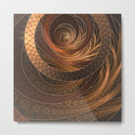 Earthen Brown Circular Fractal on a Woven Wicker Samurai Metal Print