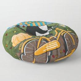 Tuxedo Cat Autumn Bicycle Ride Floor Pillow
