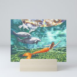 Swimming with Manatees Mini Art Print