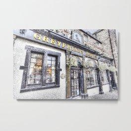Greyfriars Bobby Pub Snow Art Metal Print