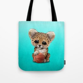 Leopard Cub Playing With Basketball Tote Bag