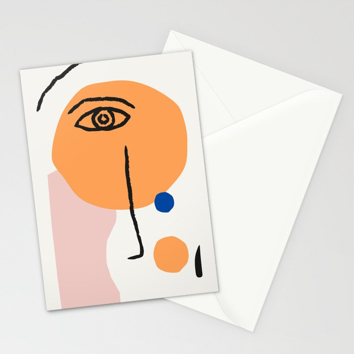 Feminist Line Drawing – Face Illustration | Blue and Nude | Modern Wall Art | Leaf Print | Feminist Stationery Cards