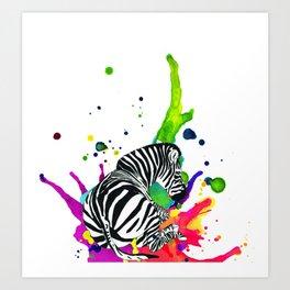 Zebra splat Art Print