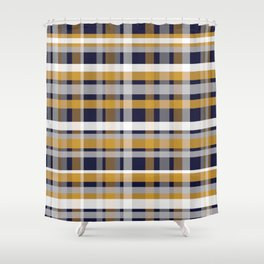 Modern Retro Plaid in Mustard Yellow, White, Navy Blue, and Grey Shower Curtain