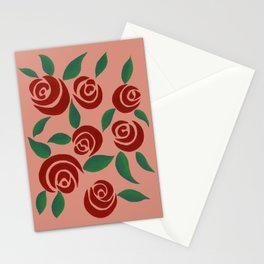 Red Roses with leaves Stationery Cards
