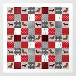 Doxie Quilt - duvet cover, dog blanket, doxie blanket, dog bedding, dachshund bedding, dachshund Art Print