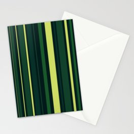 Yellow and Shades of Green Stripes Stationery Cards