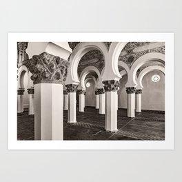 The Historic Arches in the Synagogue of Santa María la Blanca, Toledo Spain (3) Art Print