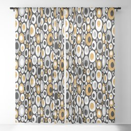 Mid Century Modern Ovals - Small Print in Black, White, Gold, Silver Sheer Curtain