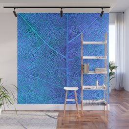 Neon Blue Leaf with Veins Wall Mural
