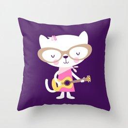 Acoustic Kitty Throw Pillow