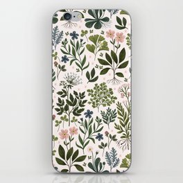 Herbarium ~ vintage inspired botanical art print ~ white iPhone Skin