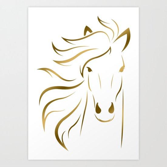 Golden Horse Drawing Art Print