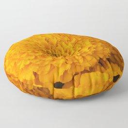 Golden Marigold Flowers Close up Floor Pillow