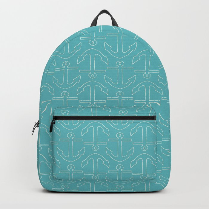 Beach Series Aqua - White Anchors on turquoise background on #Society6 Backpack