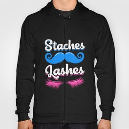 Gender Reveal Team Staches Lashes Pink Blue Baby Hoody