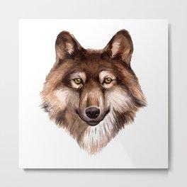 Watercolor Wolf Metal Print