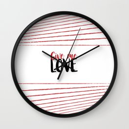 Give Me Love Doodle Lines Wall Clock