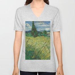 "Vincent van Gogh ""Green field"" Unisex V-Neck"