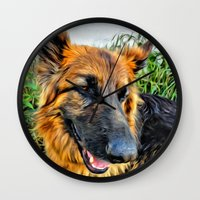 megan lara Wall Clocks featuring Dog Lara by itsme23