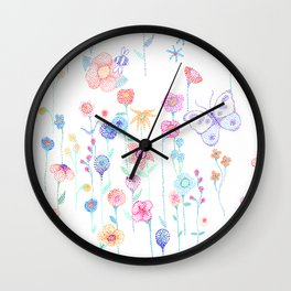 Petit Pointillism Blooms Wall Clock