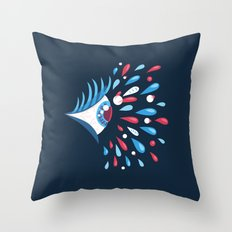 Dark Psychedelic Eye With Colorful Tears Throw Pillow