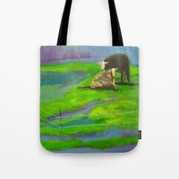 cows Tote Bags featuring Cows by Ric Soens