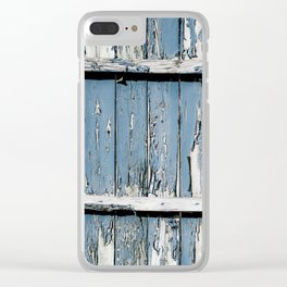 Blue Paint Chipped Fence Clear iPhone Case