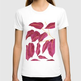 Ruby and gold leaves watercolor illustration T-shirt