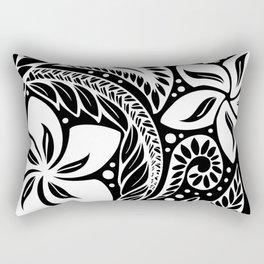 Circular Polynesian White Floral Tattoo Rectangular Pillow