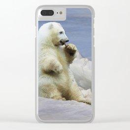 Cute Polar Bear Cub & Arctic Ice Clear iPhone Case
