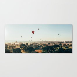 Hot-Air Balloons Flying Over Bagan Pagodas in Myanmar (Burma) Canvas Print