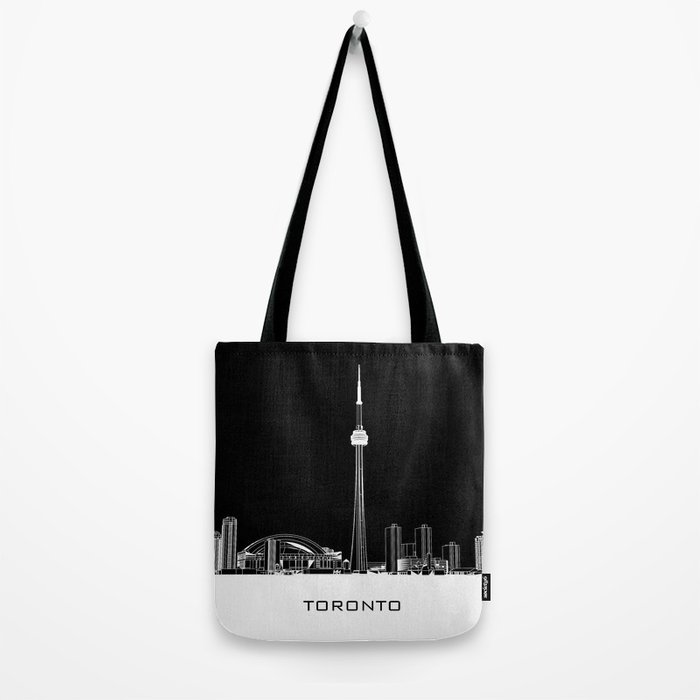 Toronto Skyline - White ground / Black Background Tote Bag